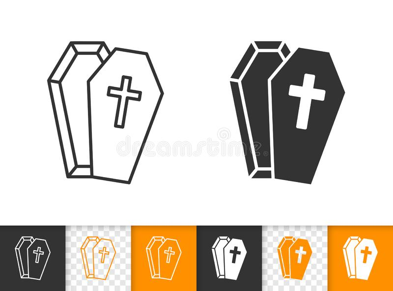 Ligne noire simple icône de cercueil de vecteur de Halloween illustration de vecteur