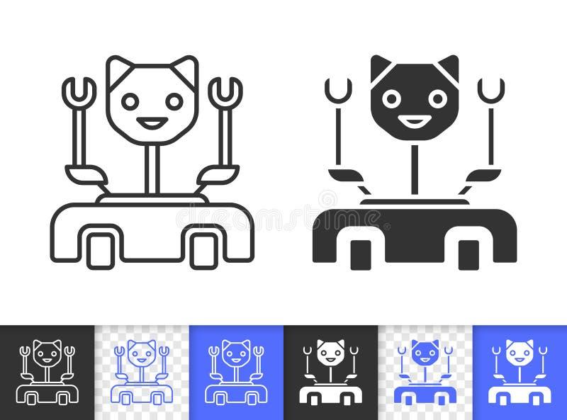 Ligne noire simple icône de chat de robot de vecteur illustration libre de droits