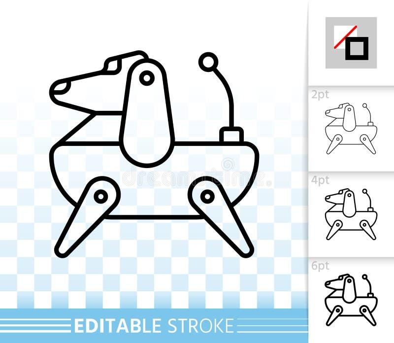 Ligne noire simple icône de chien de robot de vecteur illustration libre de droits