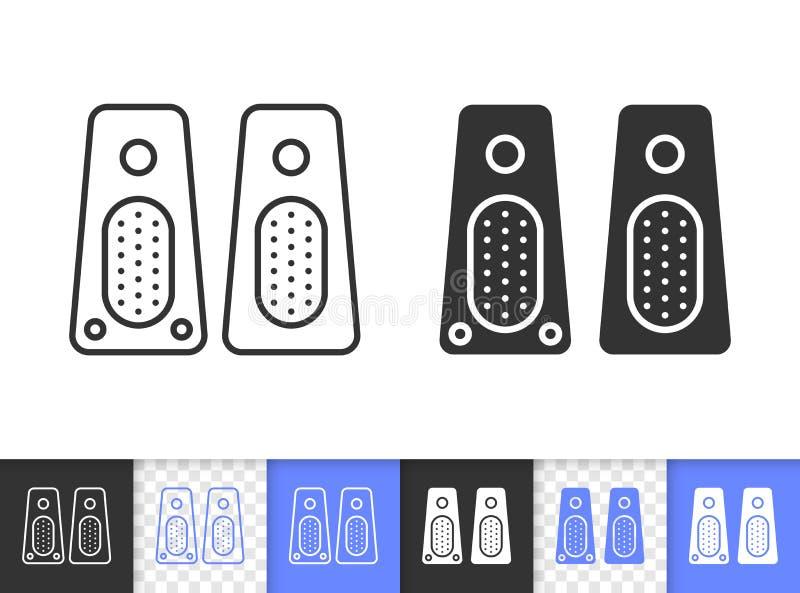 Ligne noire simple icône de haut-parleur de vecteur illustration stock