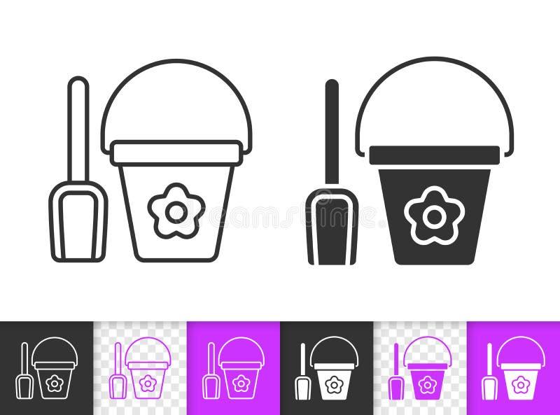 Ligne noire simple icône de pelle et de seau de vecteur illustration libre de droits