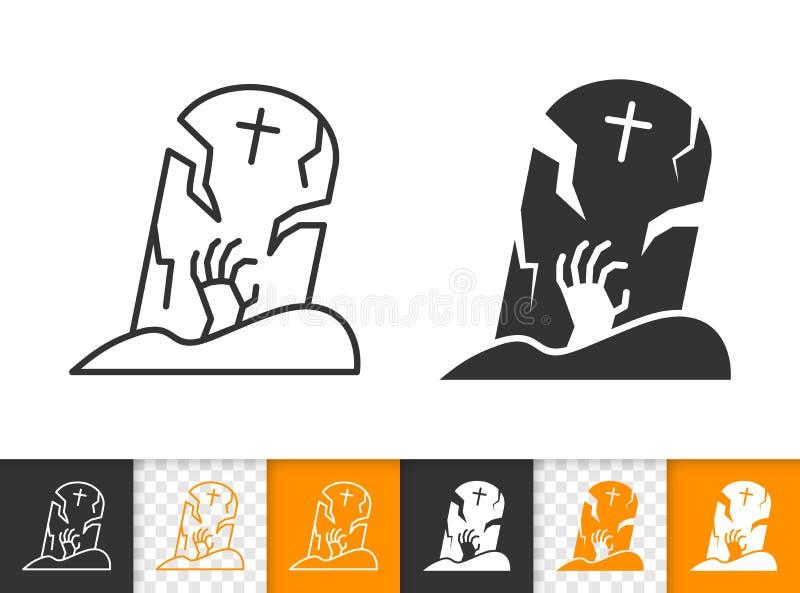 Ligne noire simple icône de pierre tombale de vecteur de Halloween illustration libre de droits