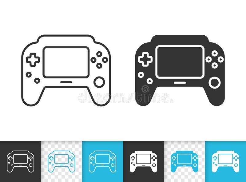 Ligne noire simple icône de protection de jeu de vecteur illustration stock