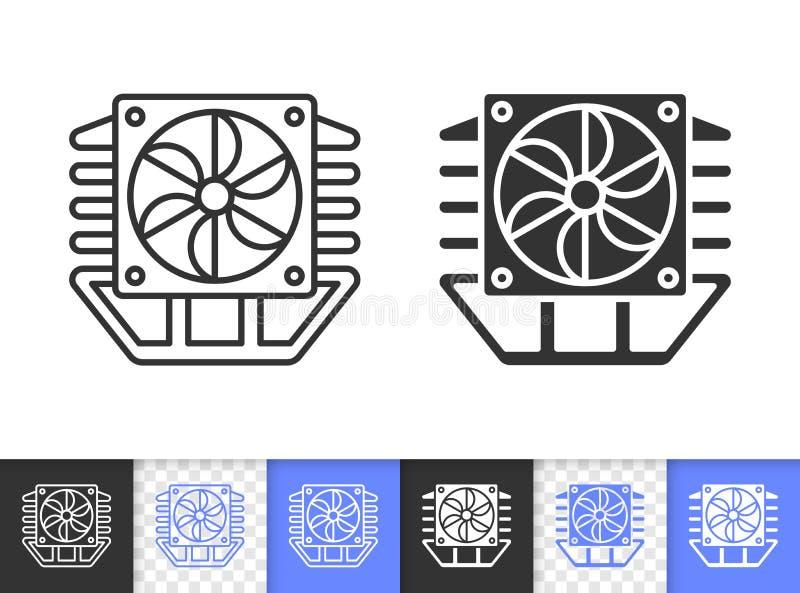 Ligne noire simple icône de refroidisseur de processeur de fan de vecteur illustration de vecteur