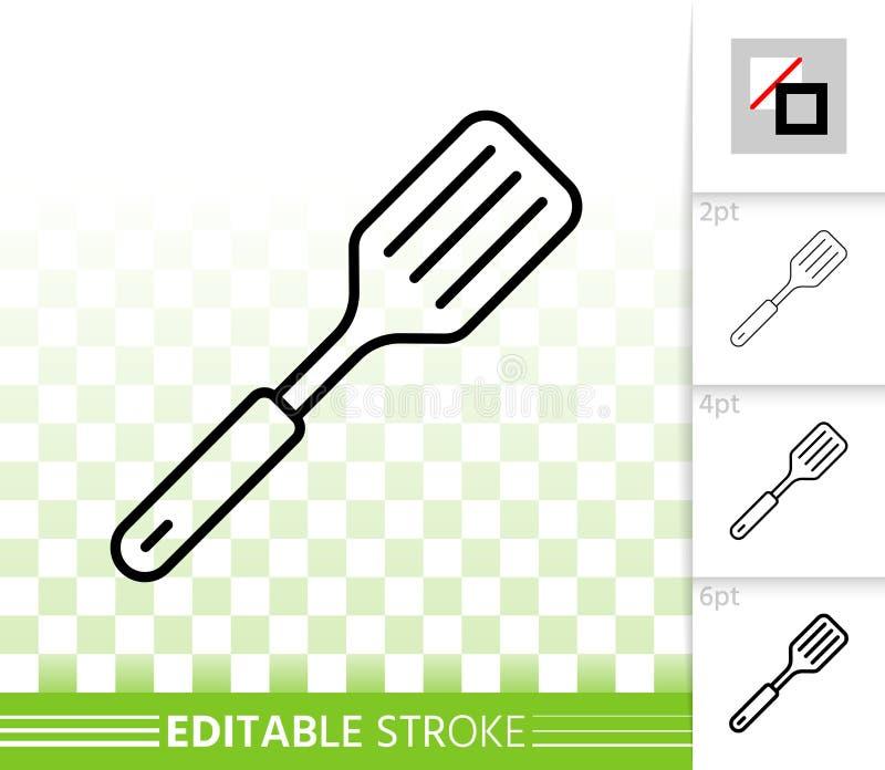 Ligne noire simple icône de spatule de vecteur illustration libre de droits