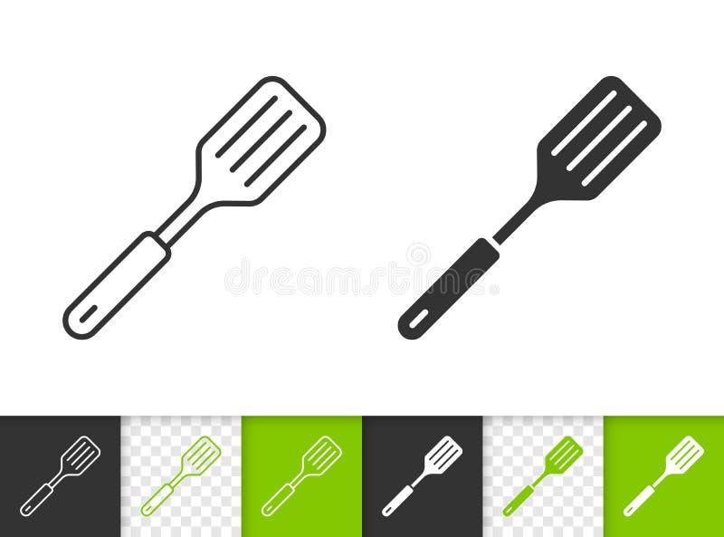 Ligne noire simple icône de spatule de vecteur illustration stock