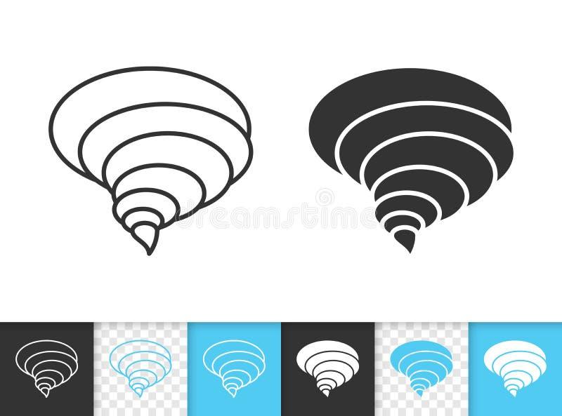 Ligne noire simple icône de tornade de vecteur illustration libre de droits