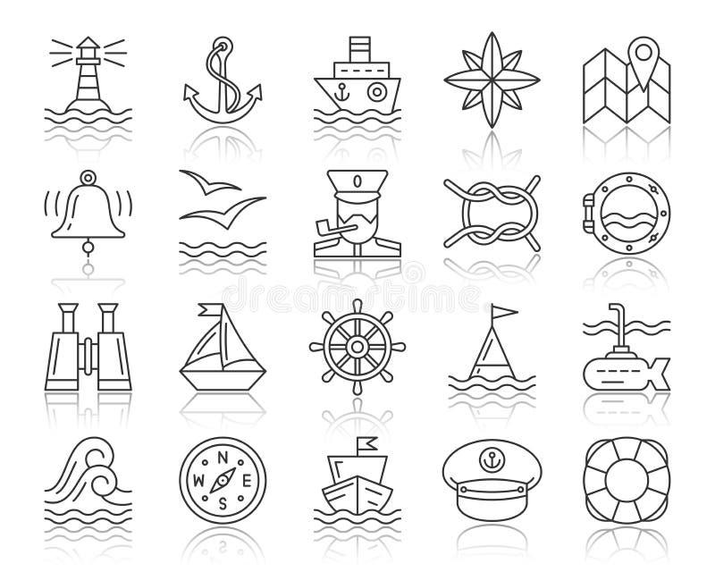 Ligne noire simple marine ensemble de vecteur d'icônes illustration libre de droits