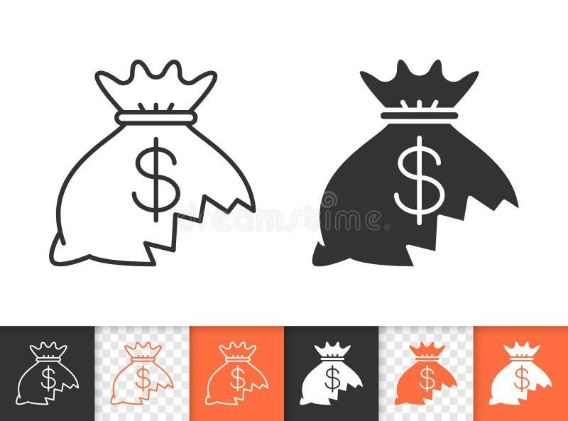 Ligne noire simple perdue icône d'argent de vecteur illustration stock