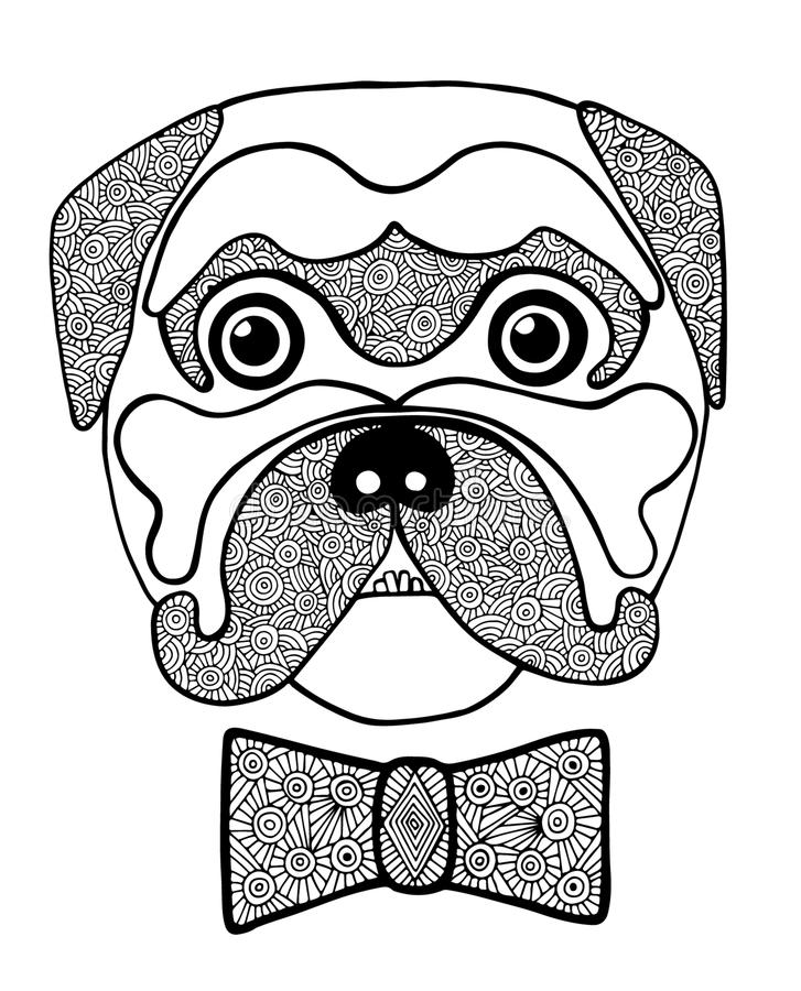 Ligne noire tête de chien mignonne avec l'arc noir blanc de résumé illustration libre de droits