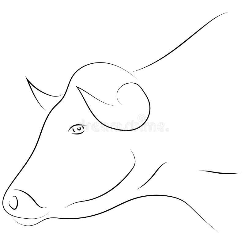 Ligne noire tête de taureau sur le fond blanc Vecteur de dessin de main S illustration libre de droits