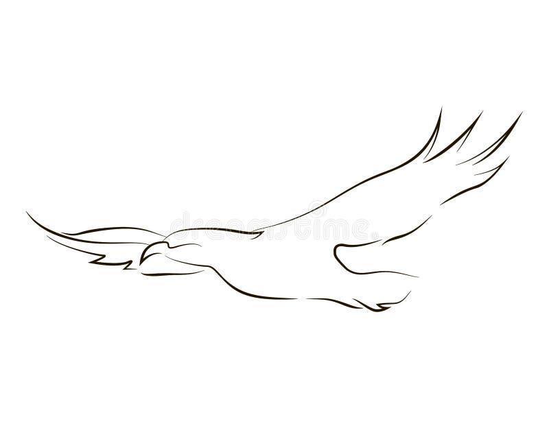 Ligne noire volante aigle illustration libre de droits