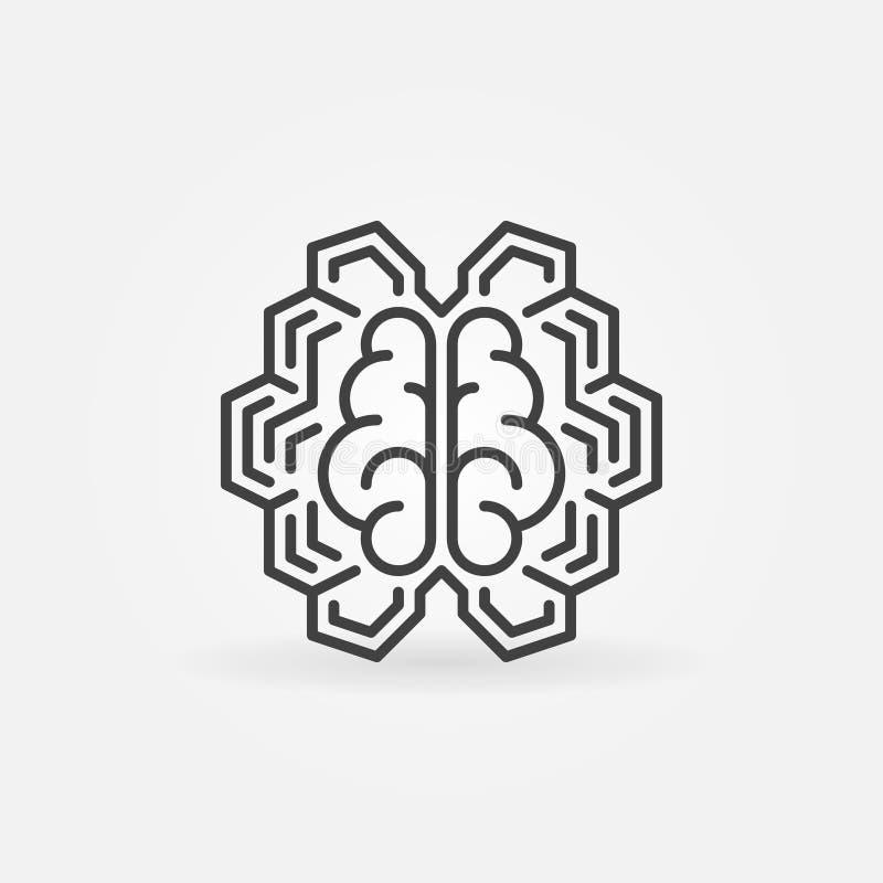 Ligne numérique géométrique icône de cerveau Signe de concept du vecteur AI illustration stock