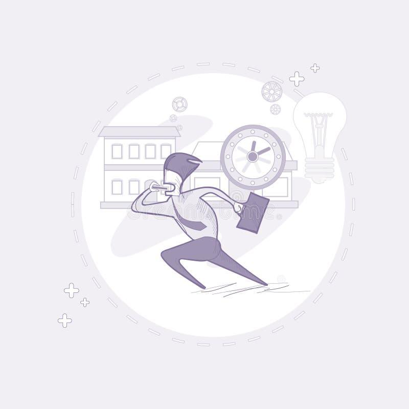 Ligne occupée courue de Time Deadline Thin d'homme d'affaires d'homme d'affaires illustration de vecteur