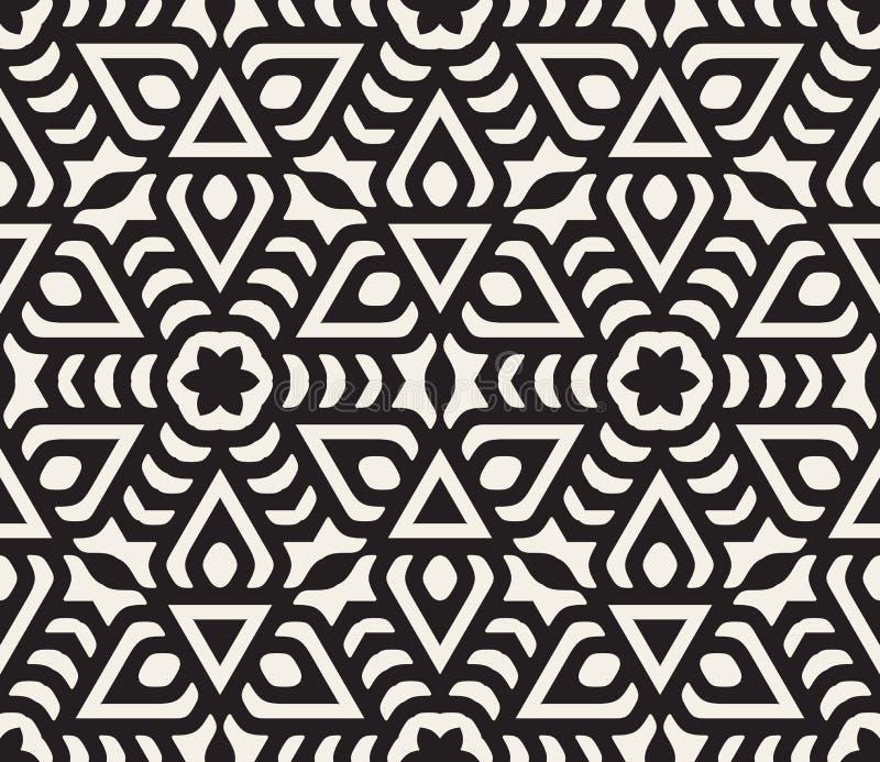 Ligne orientale florale arrondie noire et blanche sans couture modèle d'étoile de vecteur illustration libre de droits