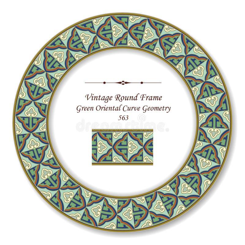 Ligne orientale Geometr d'or de courbe de rétro vert rond de cadre de vintage illustration libre de droits