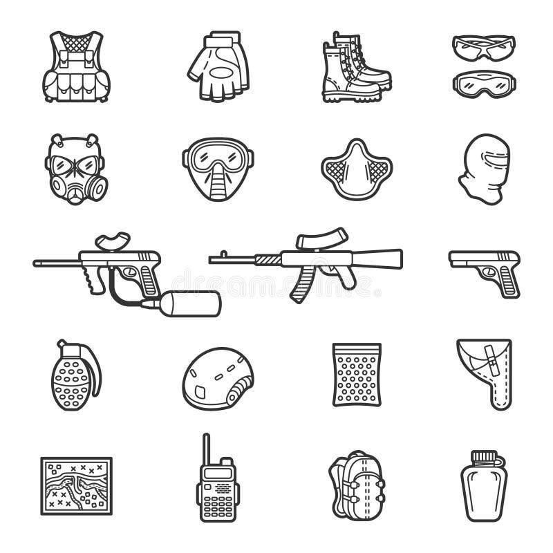 Ligne paintball de vecteur ou ensemble d'icône d'airsoft illustration libre de droits