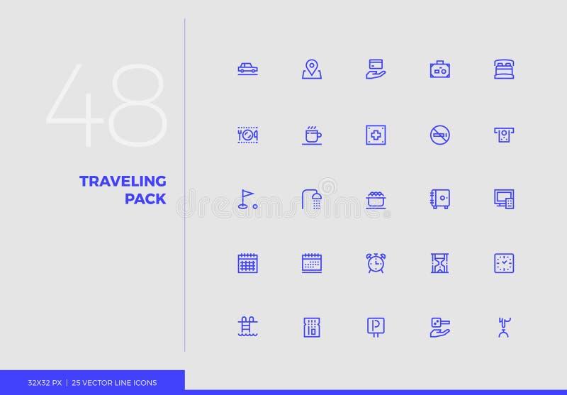 Ligne paquet de déplacement de vecteur d'icônes illustration stock