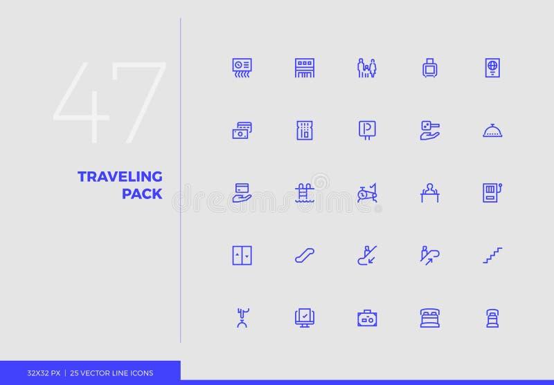 Ligne paquet de déplacement de vecteur d'icônes illustration libre de droits