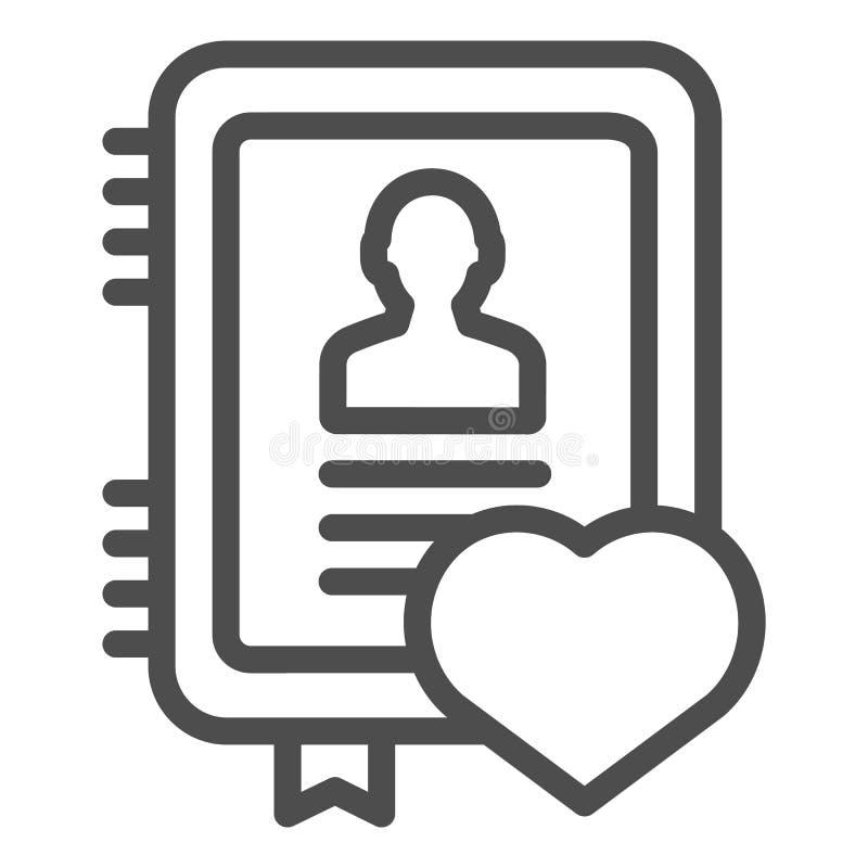 Ligne personnelle icône de bloc-notes Illustration de vecteur de carnet d'isolement sur le blanc Conception de style d'ensemble d illustration de vecteur
