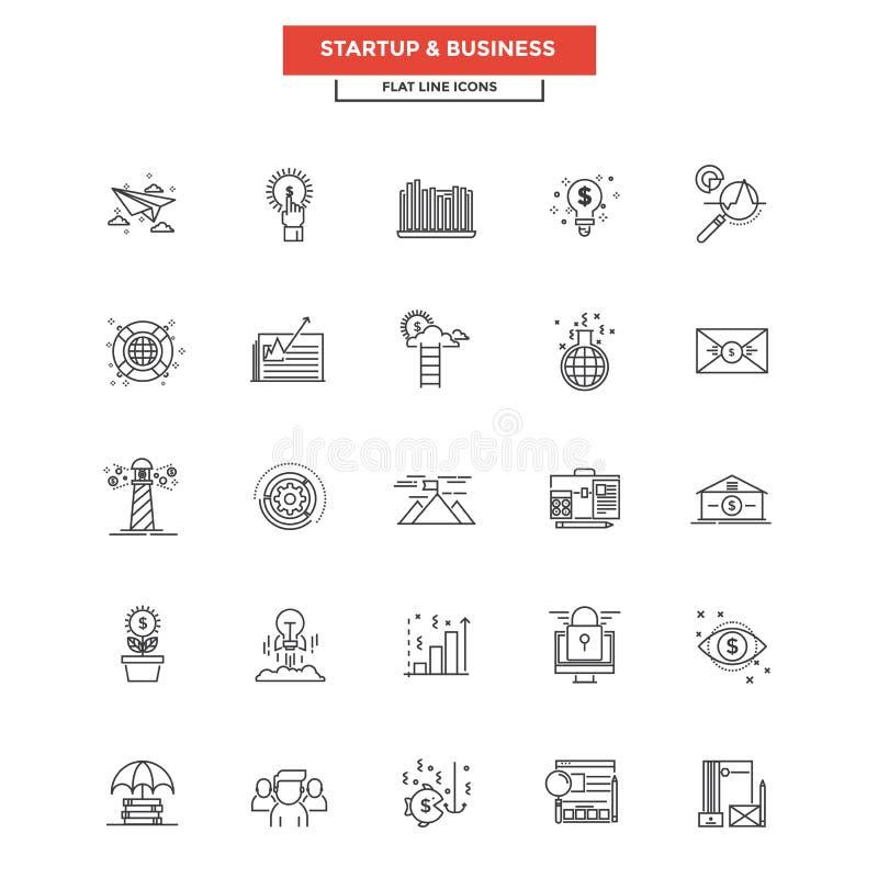 Ligne plate affaires et démarrage d'icônes illustration de vecteur