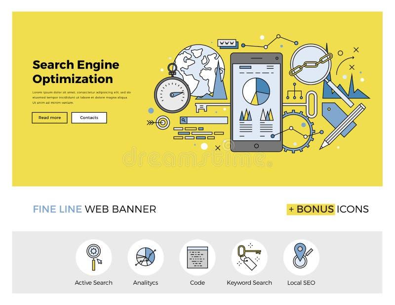 Ligne plate bannière d'optimisation de moteur de recherche illustration libre de droits