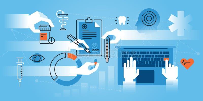 Ligne plate bannière de site Web de conception de Faculté de Médecine, spécialisation médicale illustration libre de droits