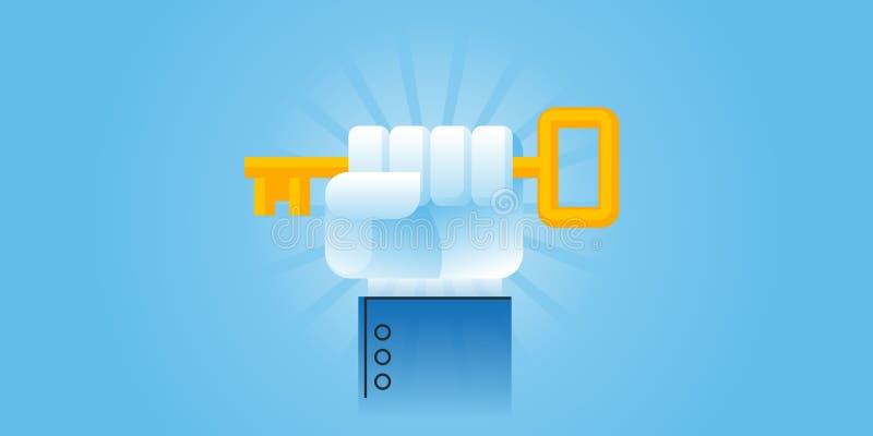 Ligne plate bannière de site Web de conception de la clé au succès, solutions aux problèmes, consultant, réussite commerciale illustration stock