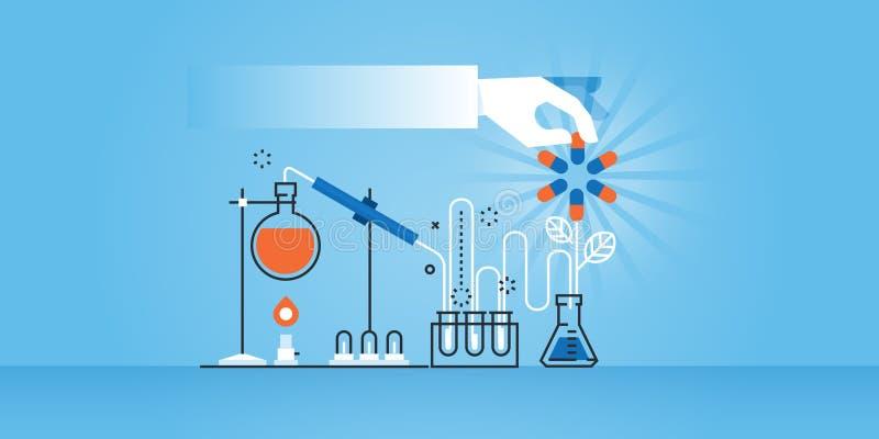 Ligne plate bannière de site Web de conception de recherche médicale, laboratoire, la science, pharmacie illustration libre de droits