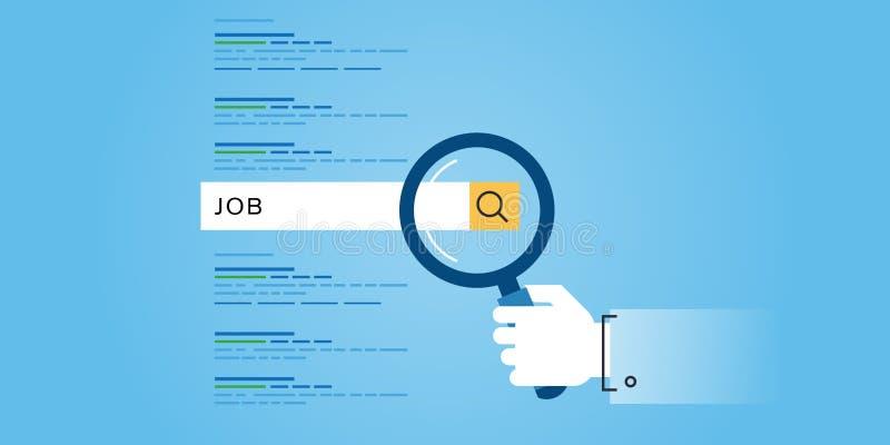Ligne plate bannière de site Web de conception des recherches d'emploi, carrière, offres d'emploi, ressources humaines illustration stock