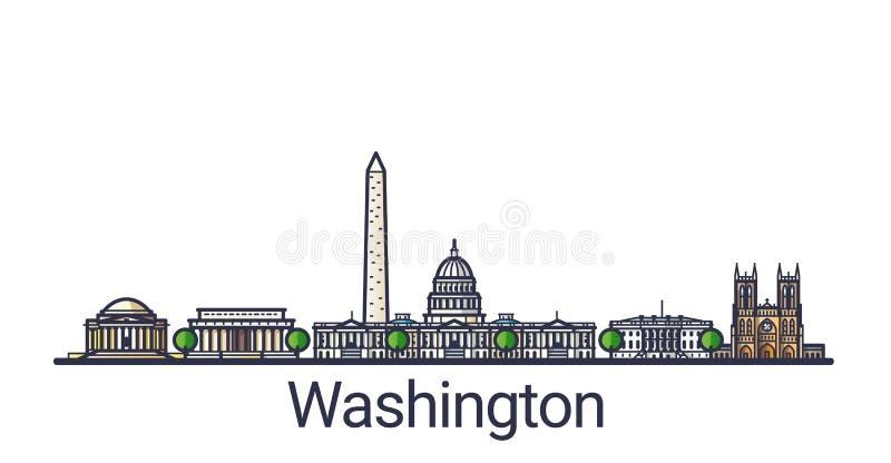 Ligne plate bannière de Washington illustration libre de droits