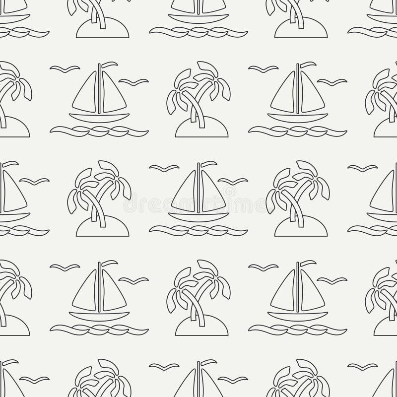 Ligne plate bateau sans couture d'océan de modèle de vecteur monochrome, voile, paume, île Rétro style de bande dessinée regatta  illustration libre de droits