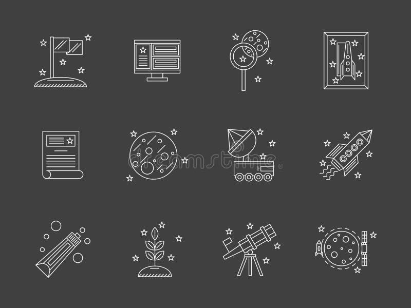 Ligne plate blanche icônes de recherche spatiale réglées illustration libre de droits