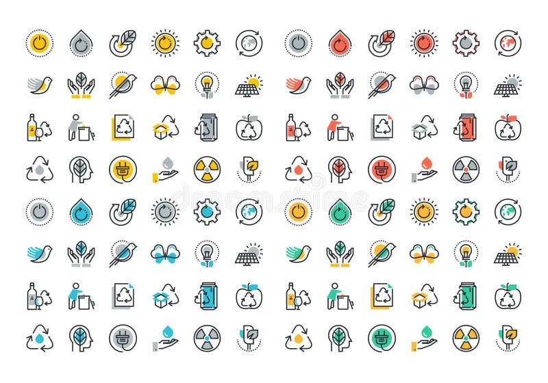 Ligne plate collection colorée d'icônes de la réutilisation illustration libre de droits