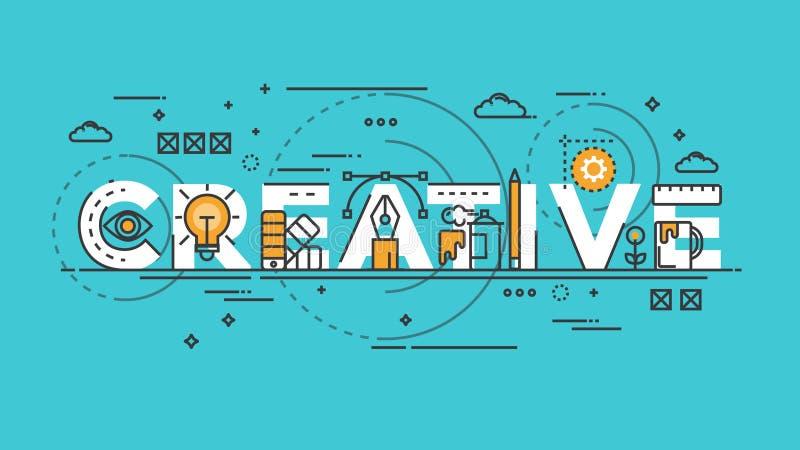 Ligne plate concept de conception - créatif illustration stock