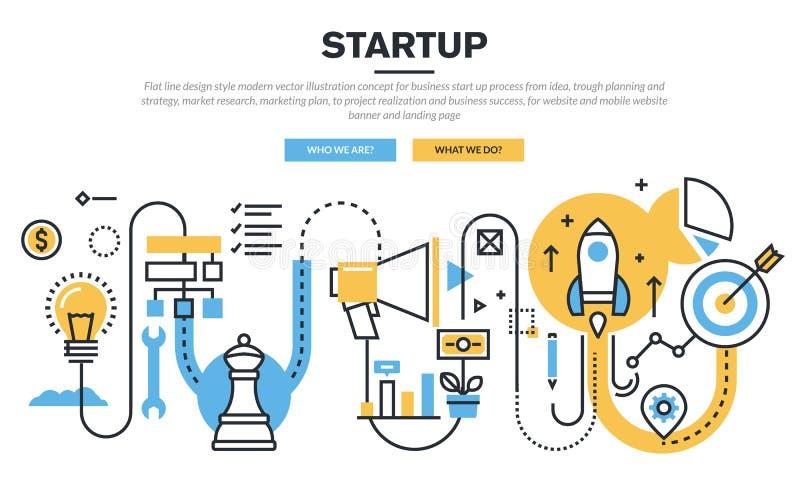 Ligne plate concept de construction pour le processus de démarrage d'entreprise illustration libre de droits