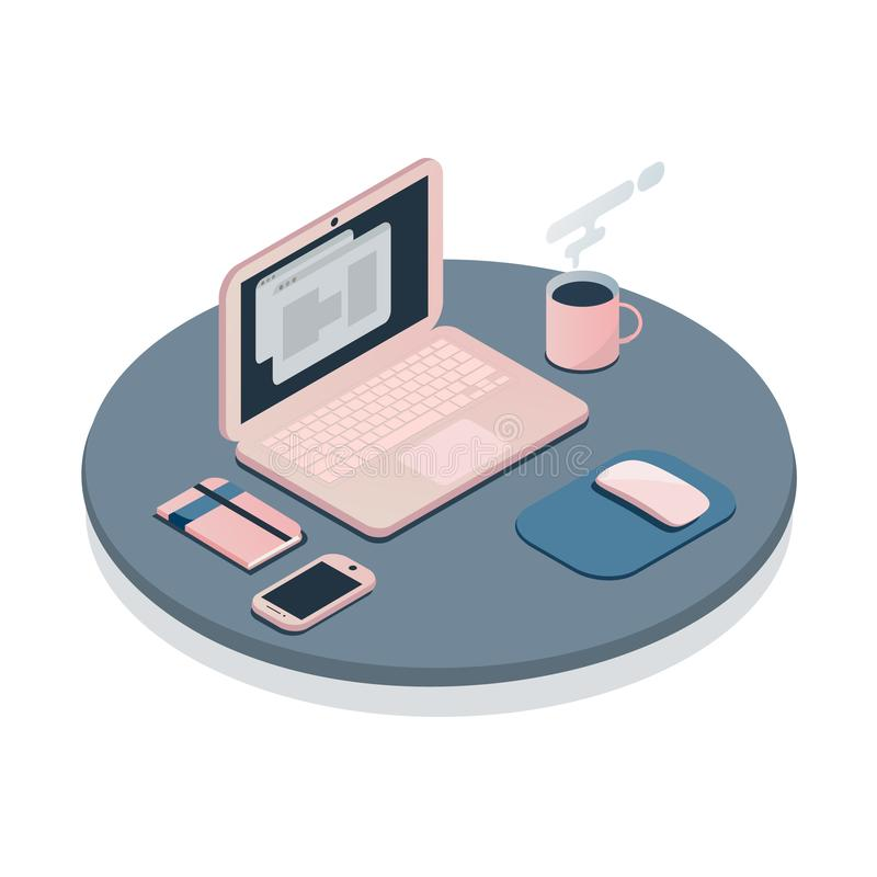 Ligne plate concept de couleur de lieu de travail illustration de vecteur
