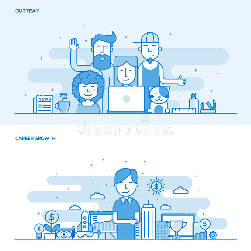 Ligne plate concept de couleur notre croissance d'équipe et de carrière illustration stock
