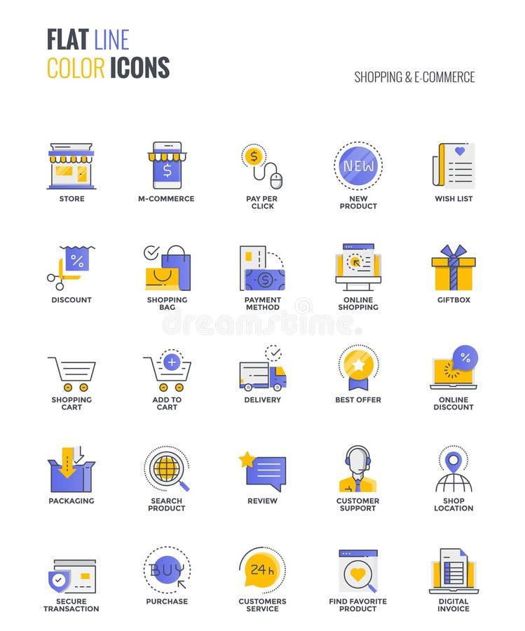 Ligne plate conception-achats et commerce électronique multicolores d'icônes illustration stock