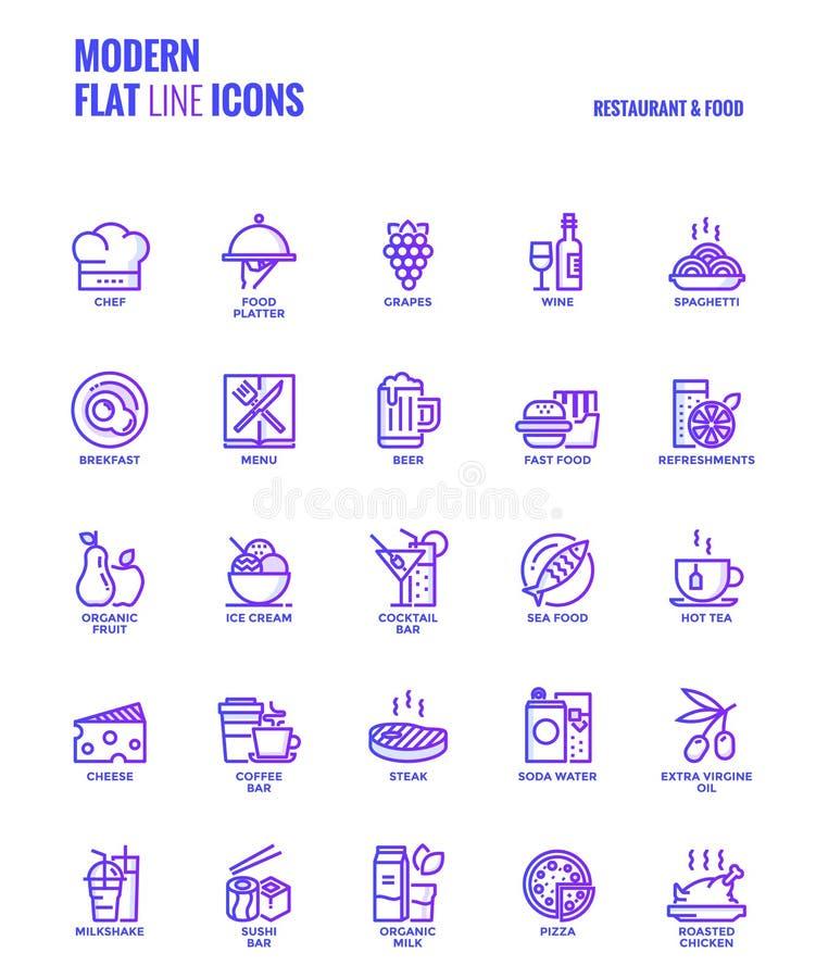 Ligne plate conception-restaurant et nourriture d'icônes de gradient illustration de vecteur