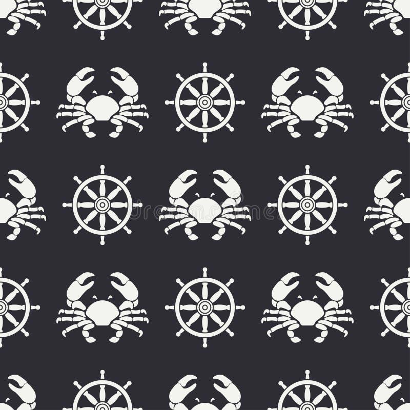 Ligne plate crabe de modèle de vecteur et volant sans couture Rétro simplifié Type de dessin animé cancer omar Fruits de mer illustration stock