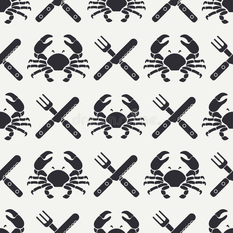 Ligne plate crabe sans couture de modèle de vecteur, couverts, fourchette, couteau Rétro simplifié Type de dessin animé cancer om illustration stock