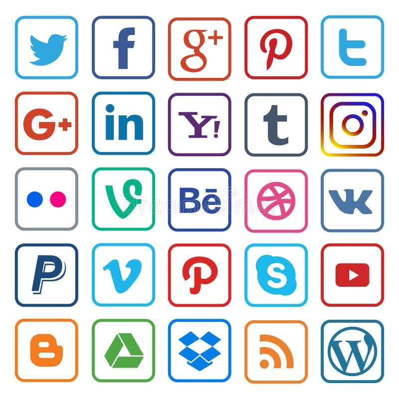Ligne plate d'icône sociale de media sur populaire illustration stock