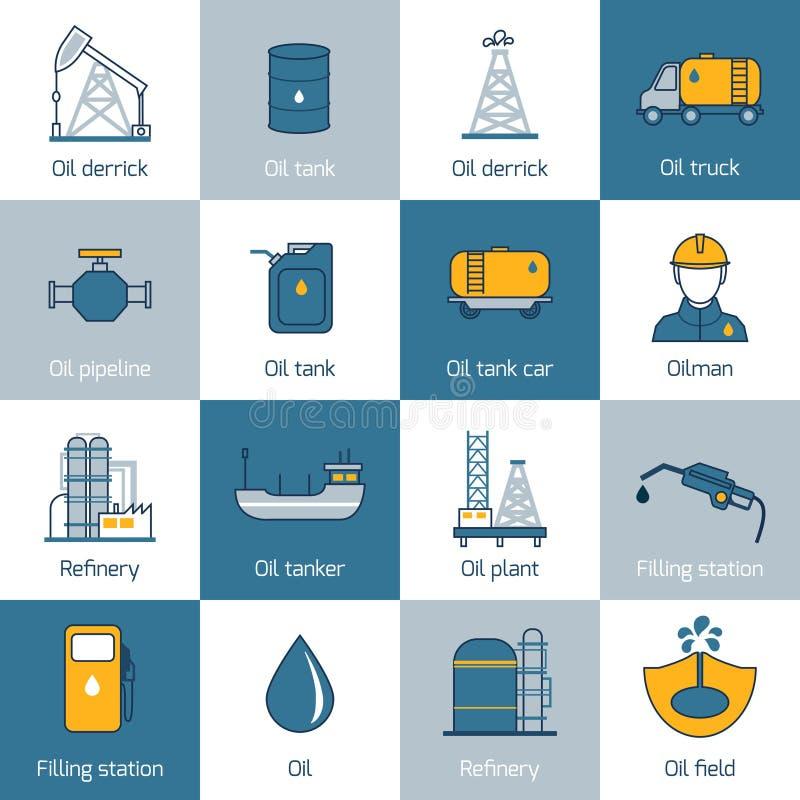 Ligne plate d'icônes d'huile illustration de vecteur