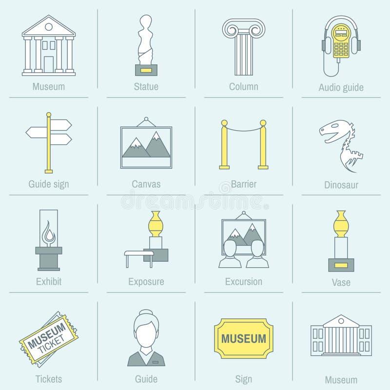 Ligne plate d'icônes de musée illustration stock