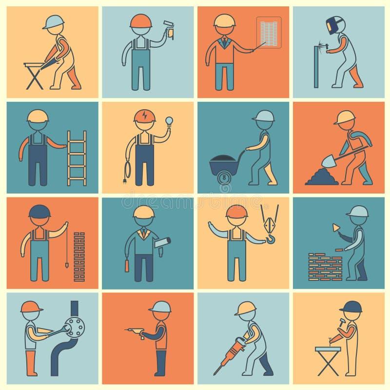 Ligne plate d'icônes de travailleur de la construction illustration stock