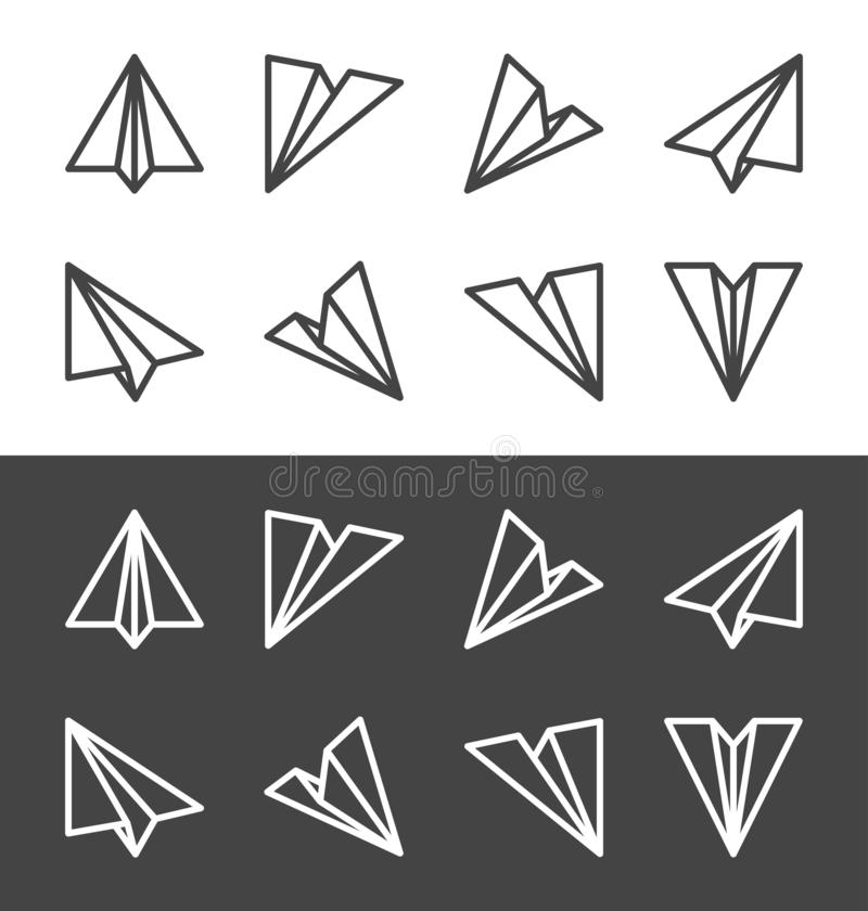 Ligne plate de papier ensemble d'icône illustration stock