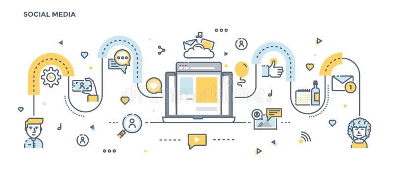 Ligne plate en-tête de conception - media social illustration de vecteur