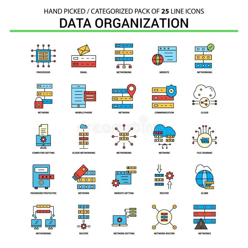 Ligne plate ensemble d'icône - icônes De d'organisation de données de concept d'affaires illustration de vecteur