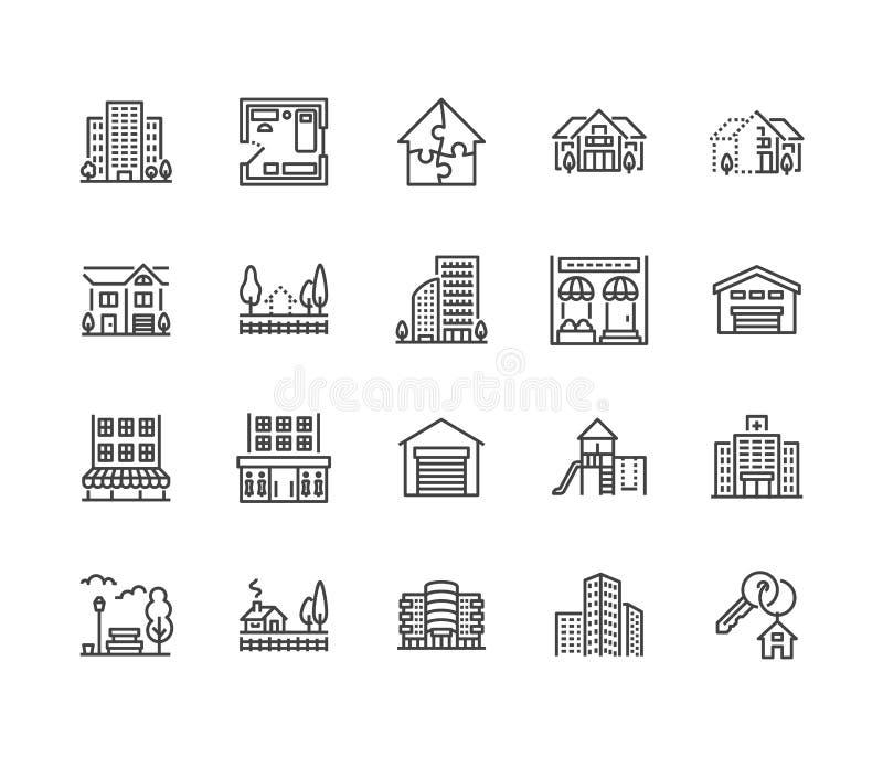 Ligne plate ensemble d'immobiliers d'icônes Vente de Chambre, bâtiment commercial, secteur central de pays, gratte-ciel, mail, ja illustration libre de droits